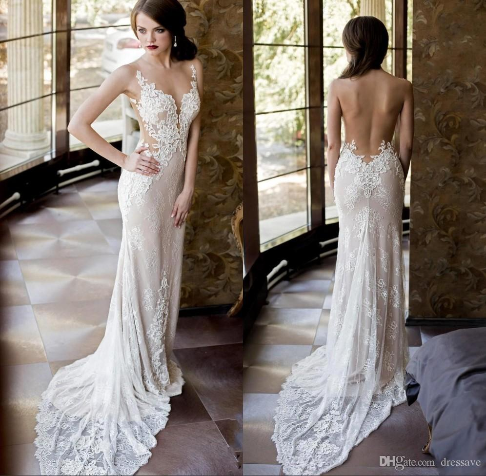 Sexy Sheer Lace Wedding Dresses With Detachable Skirt Mermaid Backless Plunging Neckline New Arrival Country Bridal Gowns Cheap Lace Wedding Dress