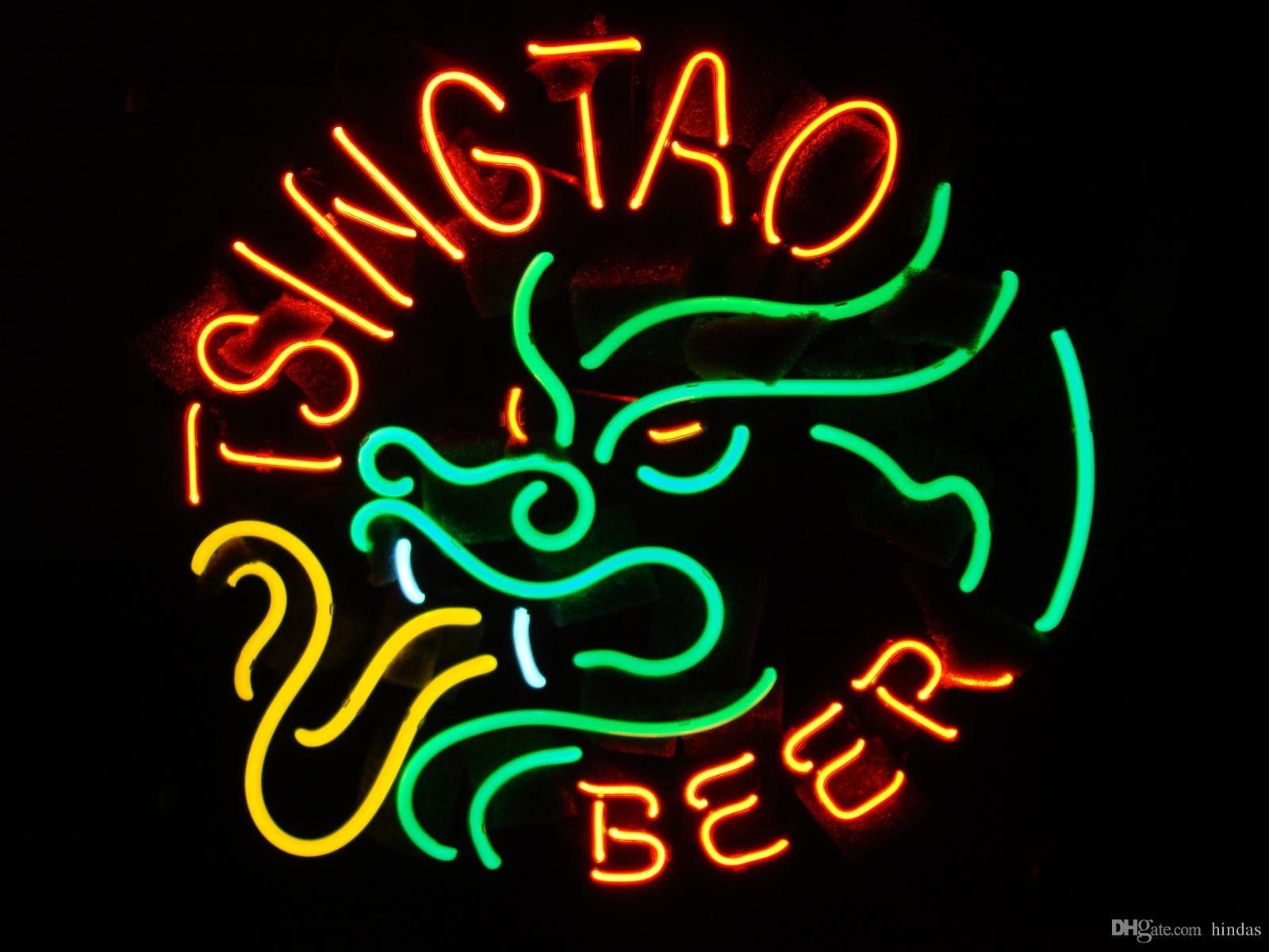 Drago Neon birra segno Bar Iscriviti reale di vetro della luce al neon della birra Tsingtao Brewery segno al neon 16x16