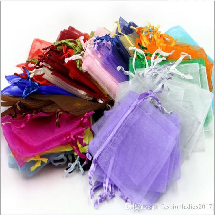 Sacs Bijoux Bijoux organza mariage Xmas Party Sacs cadeau argent or 18 couleurs avec cordon de serrage 7 * 9cm 9 * 12cm 10 * 15cm 13 * 18cm 20 * 30cm
