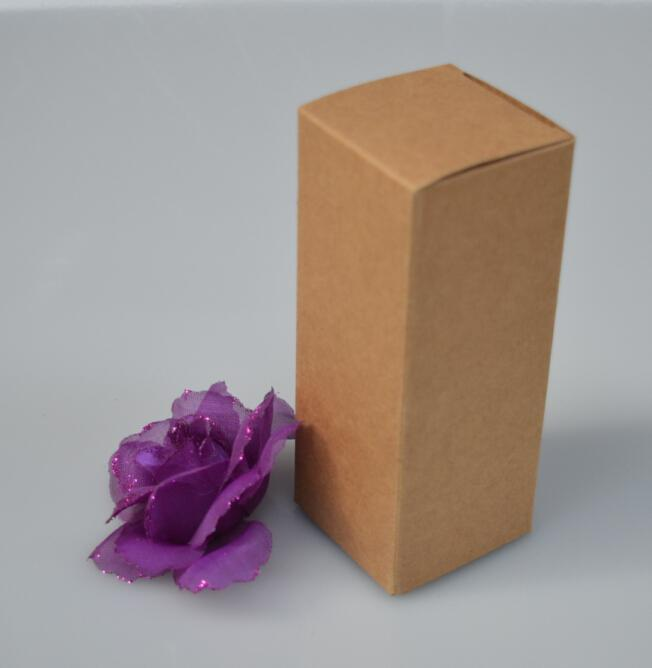 50pcs/lot-3*3*14cm Kraft Paper Box for Essential Oil Perfume sample bottle Lipstick DIY Craft Storage Box valve tubes