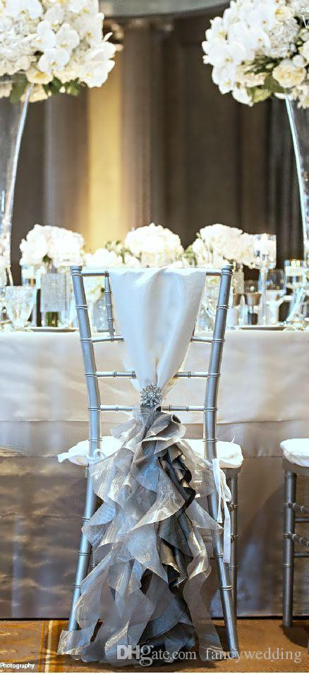 Custom Made 2017 Organza Taffeta Crystal Chair Covers Vintage Romantic Chair Sashes Beautiful Fashion Wedding Decorations 02