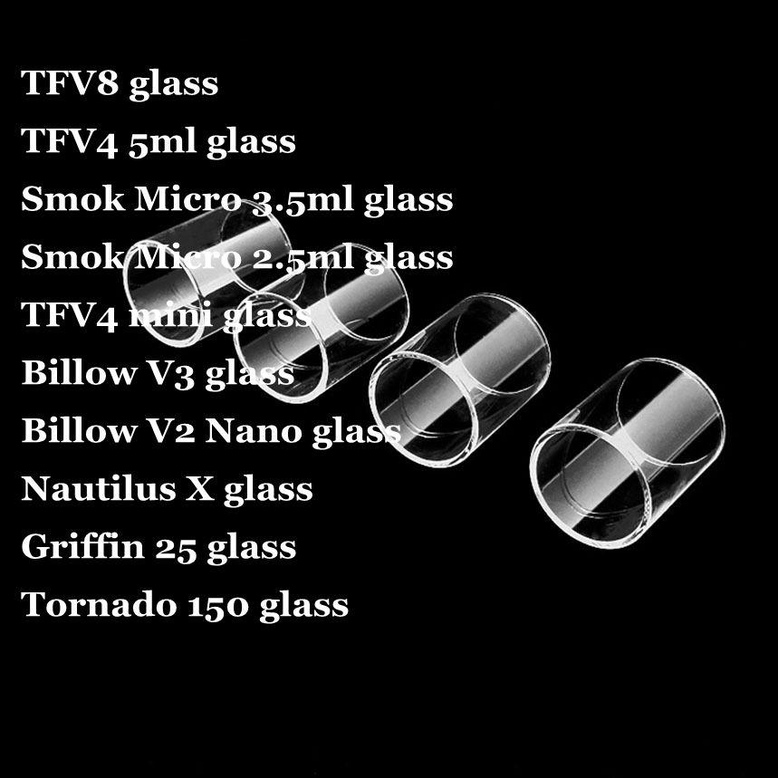 TFV8 الطفل مايكرو 3.5ML 2.5ML استبدال أنبوب زجاجي بيركس للسموك TFV4 ميني بيلو v3 نوتيلوس X غريفين 25 تورنادو 150