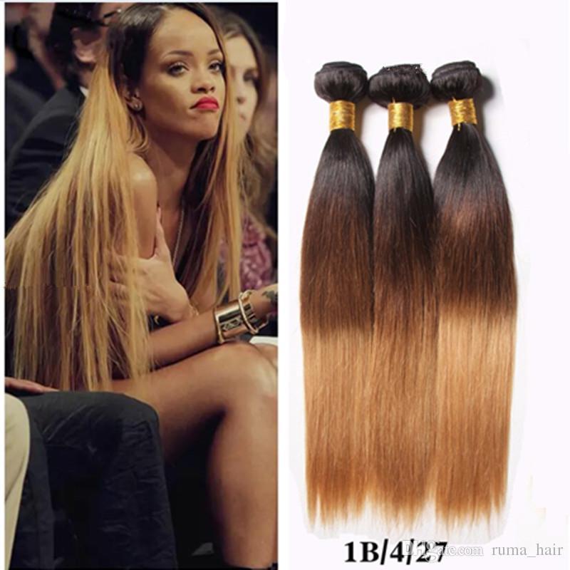 9A Cheap Peruvian Ombre Hair 3Pcs Straight 1B 4 27 Honey Blonde Three Tone Human Hair Weave Silky Straight Peruvian Human Hair Bundles