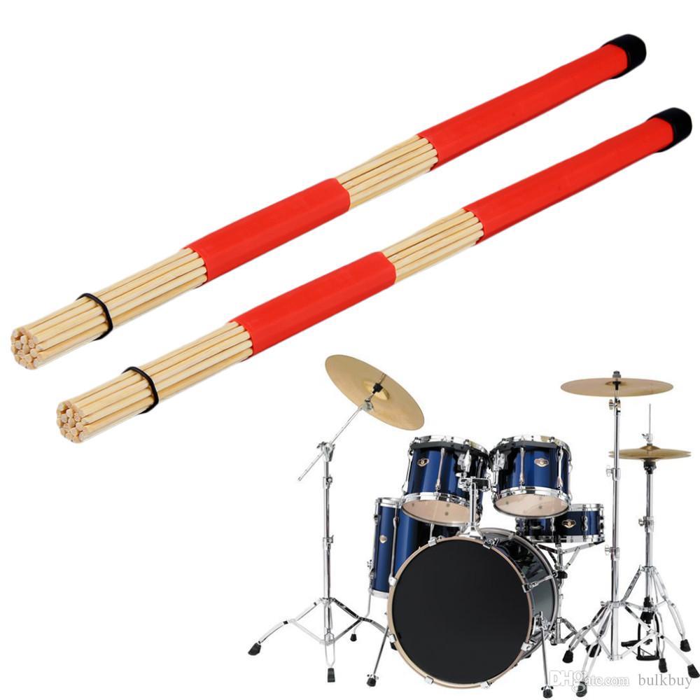 1 paire de brosses à tambour Jazz avec manche en caoutchouc rouge et brosse à tambour en nylon blanc