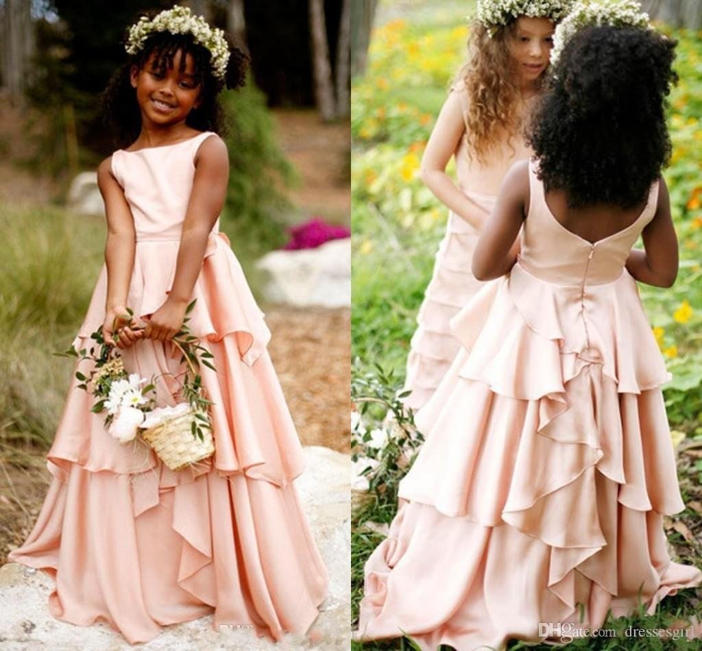 Hot Selling Pretty Blush Pink Flower Girl Dresses Chiffon Tiered Girls Pageant Gown Communion For Wedding Formal Party Floor Length