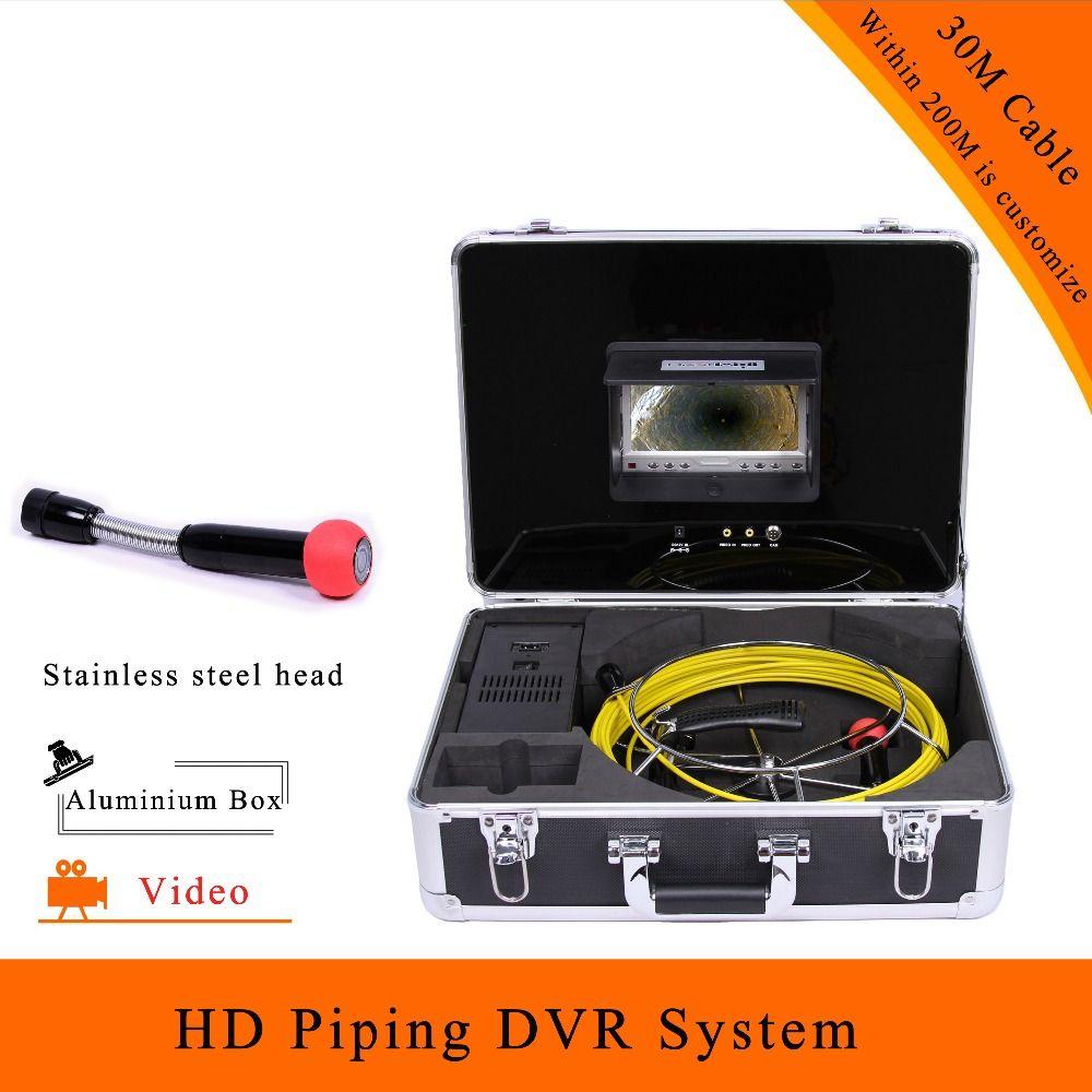 (1 مجموعة) 30 متر كابل 7 بوصة شاشة عرض ملونة الأنابيب نظام DVR كاميرا مصغرة HD 1100 TVL CMOS عدسة حسنا فحص المنظار