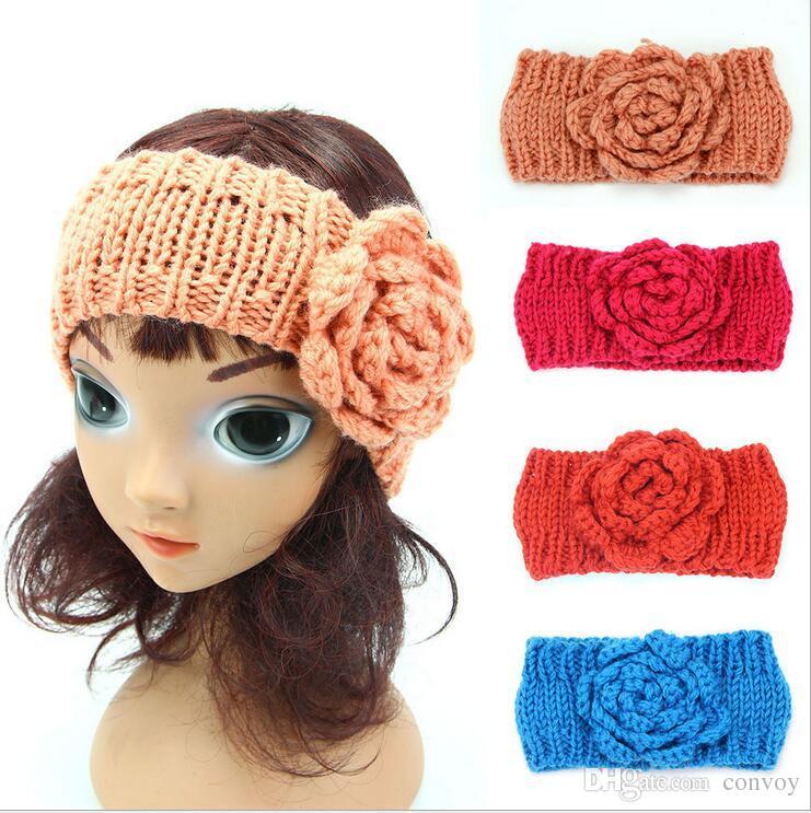 Baby Winter Warm Headbands Girls Woolen Yarn Crochet Headband Cute Flower Earflap Kids Knitting Ear Warmer Children Headwrap Earmuffs KHA112