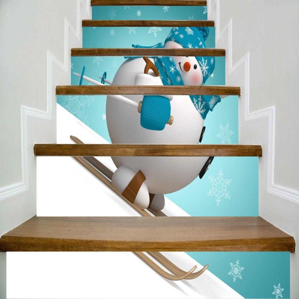 6pcs/set 18cm x 100cm Creative Snowman Skiing Pattern DIY Stair Sticker Wall Home Decor LTT090