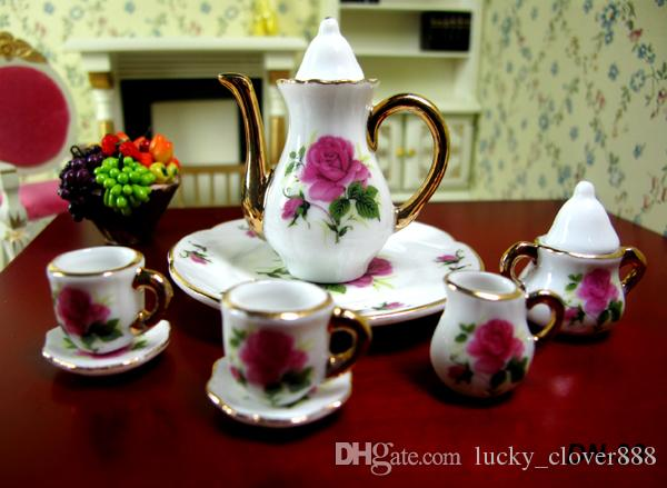 8pcs Dollhouse Miniature China teaware Furniture Toys Accessories Mini Porcelain Coffee Tea Cup pot dish Set for 1:6 doll house model gift