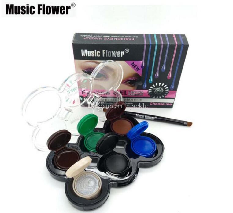 Neue Ankunfts-Musik-Blume bilden dauerhafte weiche Augen-Verfassung 6 Farben Eyeliner-Gel-wasserdichte dauerhafte Kosmetik-Eyeliner-Gel-Creme