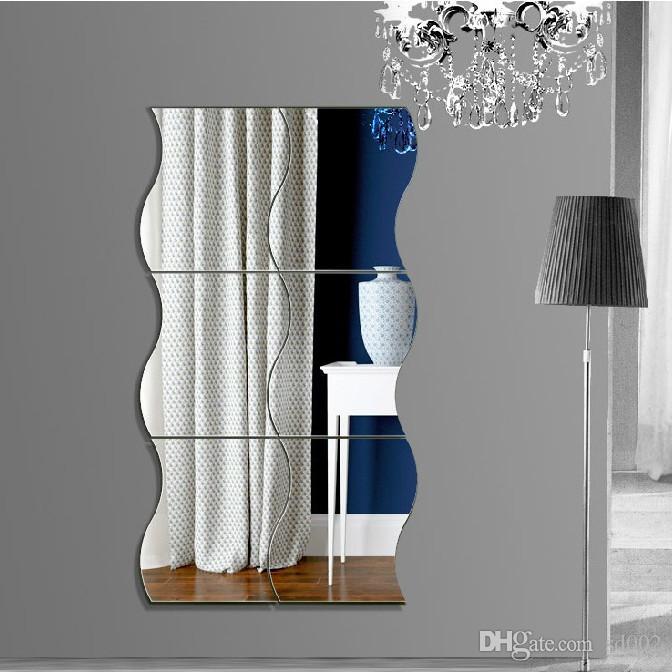 3D Miroir Sticker Mural En Plastique Acrylique Stéréo Ondes En Forme Stickers Anti Statique Moule Preuve Autocollants Pour La Décoration De La Maison 7ls BB