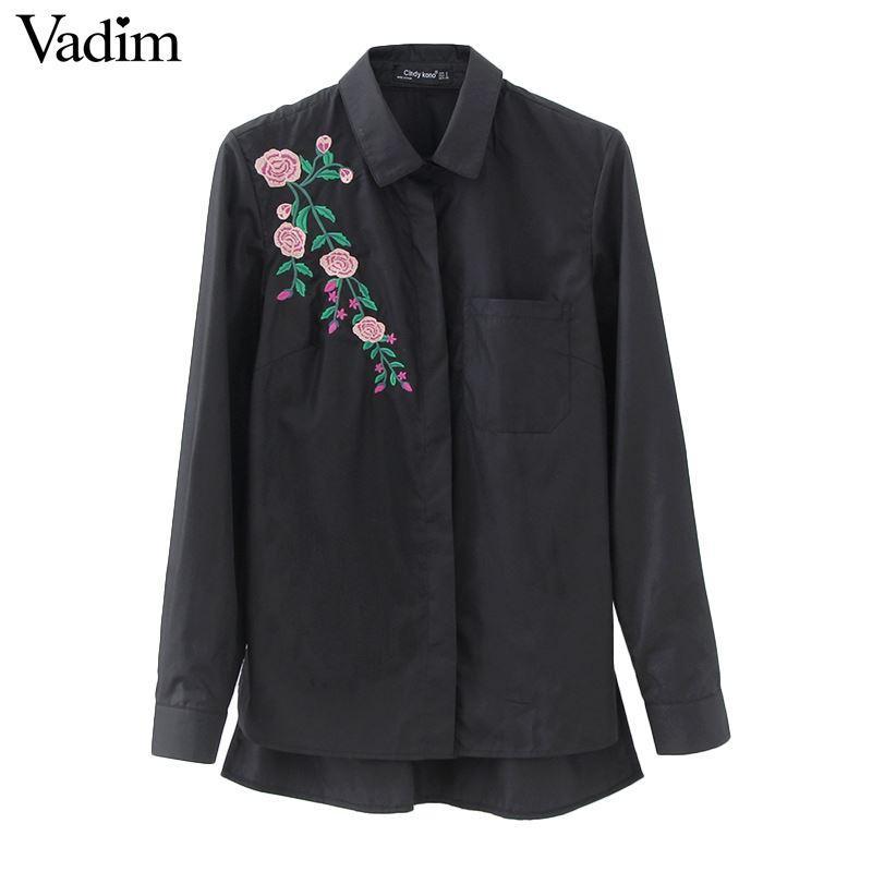 Женщины ретро цветок вышивка полосатый блузка с длинным рукавом черные рубашки отложным воротником Марка дамы топы blusas LT1511