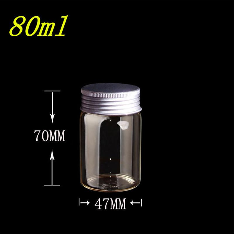 80ml Glass Bottles Silicone Stopper Aluminium Cap Empty Jars Glass Transparent Clear Bottles Vials Containers