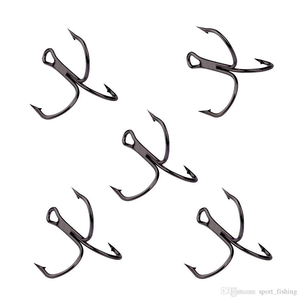 100 pz 10-2 # nichel nero gancio di ancoraggio triplo acciaio al carbonio ganci spinati ami da pesca ami da pesca pesca alla carpa attrezzatura da pesca accessori