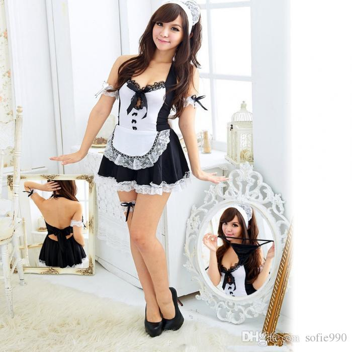Sexy Kostüme Dessous Hot Kellnerin Erotische Uniform Tiefem V-Ausschnitt Maid Cosplay Kostüm Set Frauen Babydoll