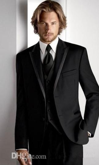 Custom Made New Smoking dello smoking dello sposo Picco Suit da uomo nero Groomsman / sposo Abiti da sposa / prom (giacca + pantaloni + cravatta + gilet) A342Q