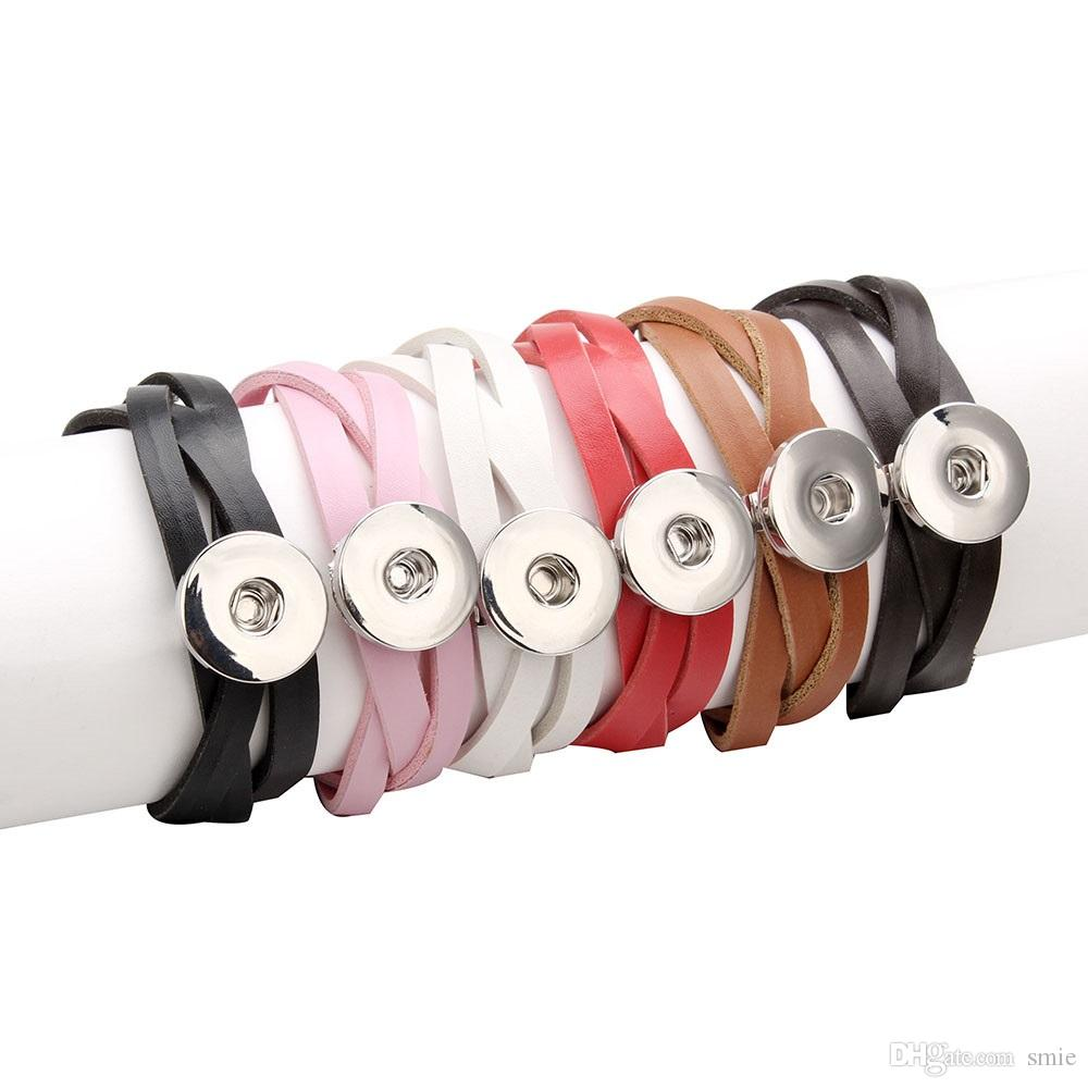 Di cuoio di modo Noosa unità di elaborazione del braccialetto di fascino fai da te 18 millimetri Ginger Snap Button Nosa Bocconcini Bracciali braccialetto per le donne Dichiarazione gioielli j4129