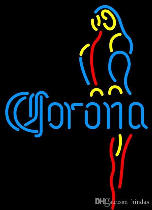 Corona Blue Parrot Neon Sign 16x16 Guangzhou Fabrik Benutzerdefinierte The Sun Lächeln Neonzeichen führte Bier LIGHT Liebe NEON Hause