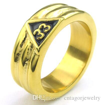 8MM Width Casting 316L Stainless Steel Golden Freemasonry Freemasons Triangle Symbol Ring SZ#8-13 ,Free and Accepted Masons
