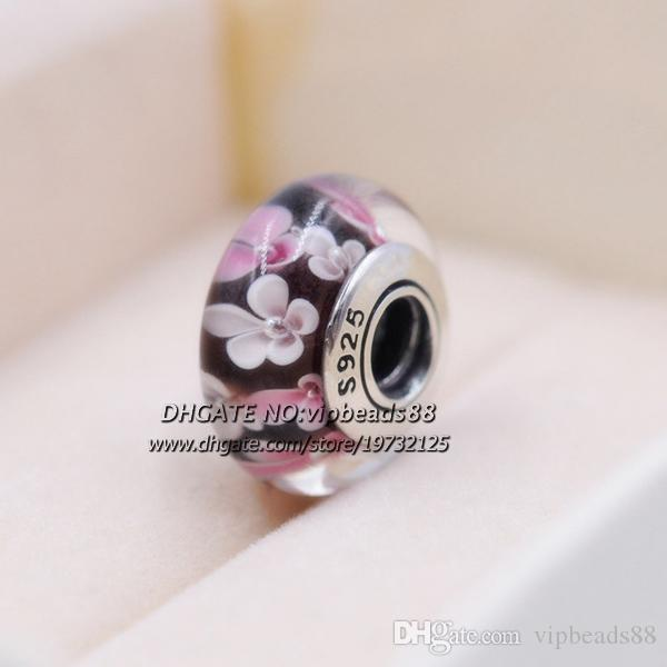 S925 Gioielli in argento sterling Fiori rosa marrone Ciondoli in vetro di Murano Misura perline Bracciali europei fai da te