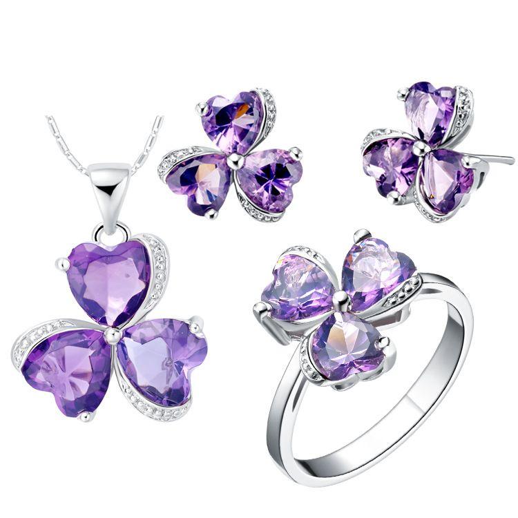 Il regalo delle donne dell'anello degli orecchini del pendente dell'argento dello zirconio 925 dell'America del vestito adatta i monili su misura del vestito del trifoglio esportato l'estremità libera