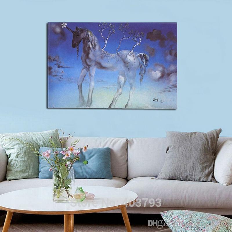 Quadro Salvador Dali Unicorn Painters Wall Art Inch Art HD Stampato moderno dipinto per soggiorno