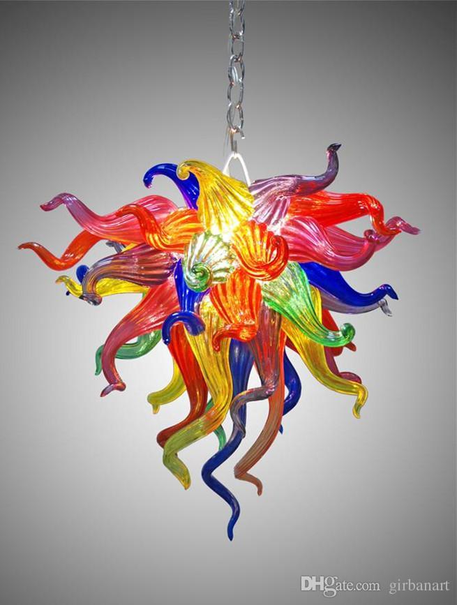 Murano Glass Crystal Chandelier Colorful Cheap Small Chandelier Lighting Living Room Dining Room LED Glass Art Pendant Light