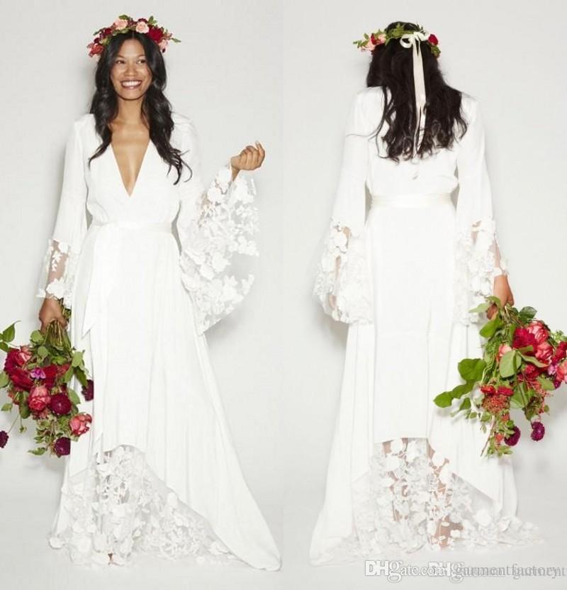 country style boho wedding dress long sleeves deep v neck a line ...
