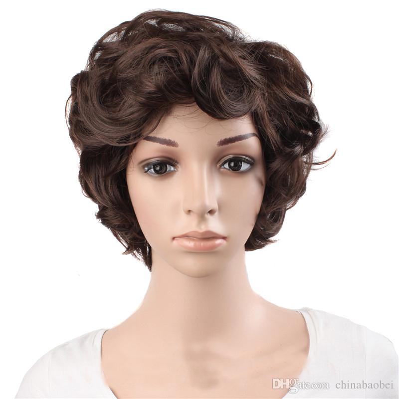 """12 """"perruques frisées courtes noir brun foncé Gris argenté 6 modèles Femme Perruques Cheveux synthétiques Résistant à la chaleur"""