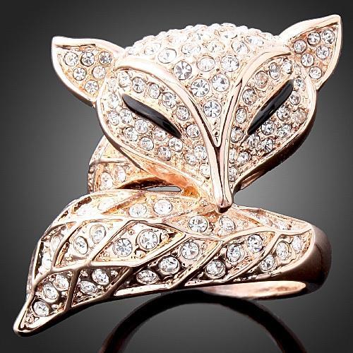 Ücretsiz Kargo Sevimli Kristal Tilki Yüzük Takı Toptan Altın / Gümüş Kaplama Tam CZ Elmas Yüzükler Moda kadın Hediye sevgililer Günü için