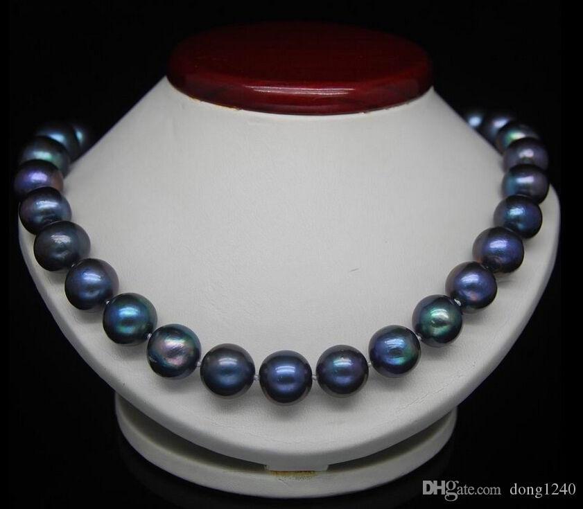 VERDADERO 18''7-8 MM TAHITIAN NEGRO AZUL natural de la perla collar de 14 quilates