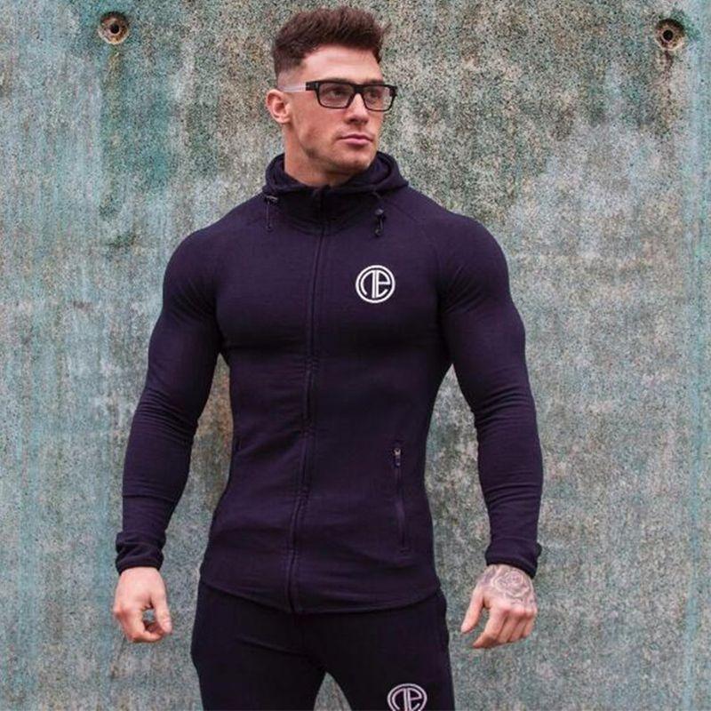 Venta al por mayor-Muscle Fitness sudadera con capucha de los hombres 2017 nueva marca Otoño Bodybuilding de color puro manga larga sudaderas con cremallera ropa