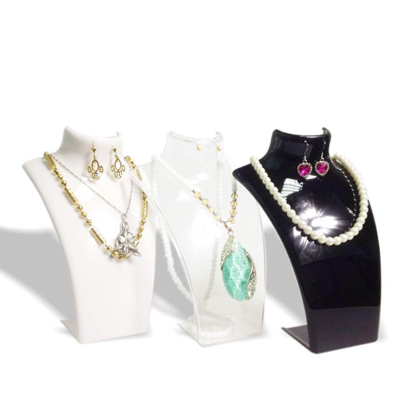 3 x Muestra de la joyería de moda busto collar de la joyería de acrílico caja de almacenamiento pendiente colgante organizador pantalla conjunto sostenedor del soporte maniquí 3 color