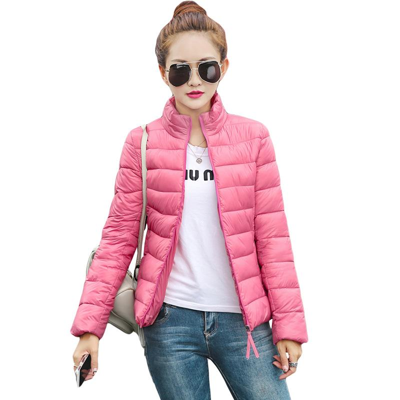 Jacket d'hiver 2016 Femmes Ultra Lumière Down Down Vestes Stand Collier Poches Chaud Slim Coat Femme Casual Parka Plus Taille M-3XL S2683