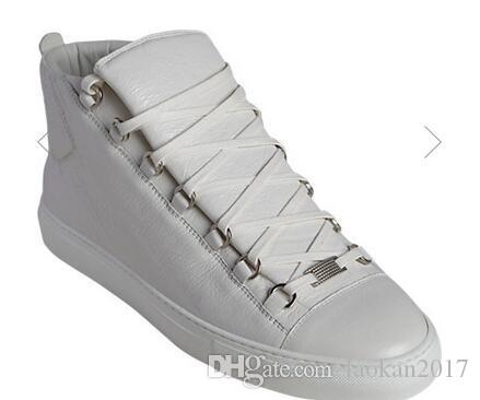Großhandel Mit Box Arena Sneaker Schuhe Aus Echtem Leder Casual Männer turnschuhe high top Party Kleid Kanye West Trainer Schuhe Weiß, schwarz, blau,