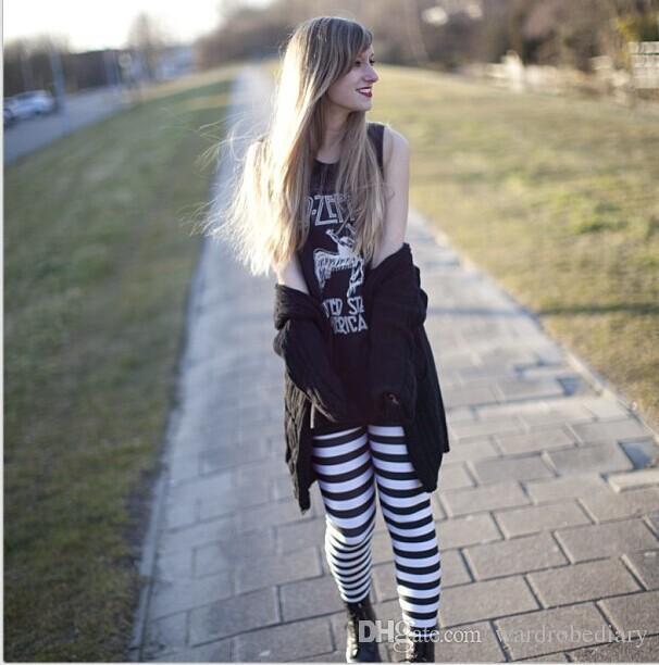 Skinny Leggings Fashion Classic black and white stripes womens Clothing Sexy Legging Patterned Girl Graffiti Leggings Tights Space pants