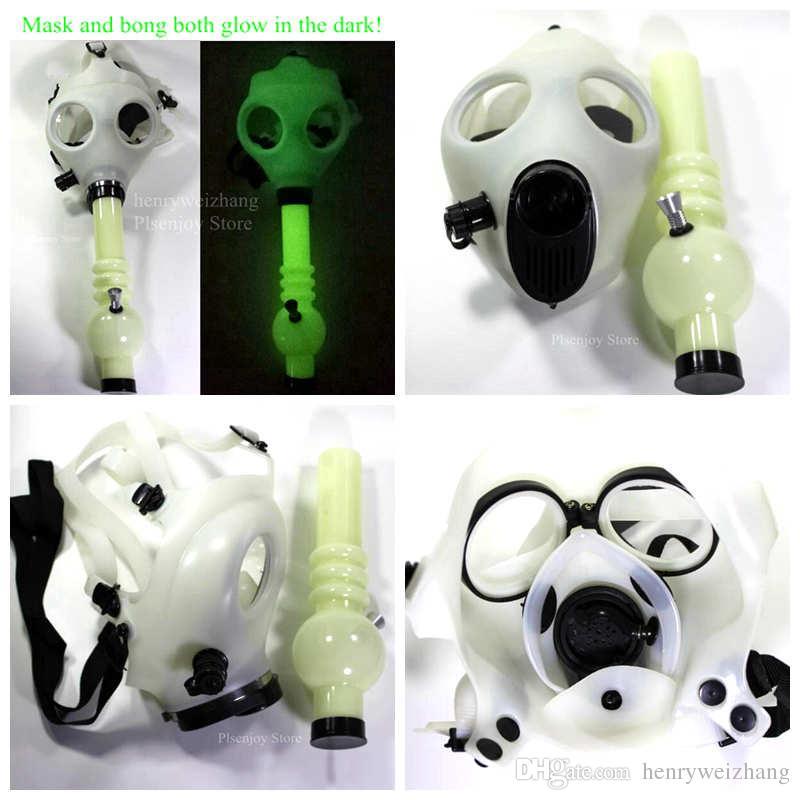 2019 Gas Mask Bong Both Glow In The Dark Water Shisha Acrylic Smoking Pipe  Sillicone Mask Hookah Tobacco Tubes White Mask From Henryweizhang, $15 23 |