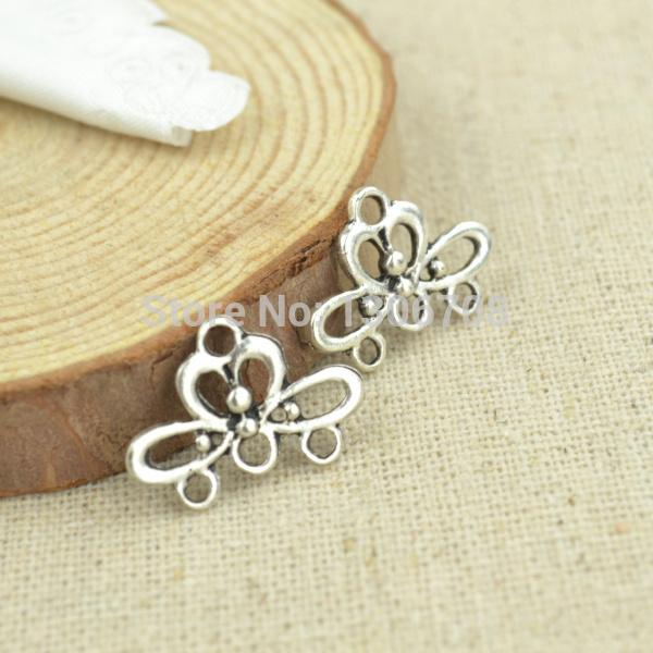 HOT 100pcs free shipping- metal tibetan silver charms flower connectors fit necklace&bracelets jewelry making 3044