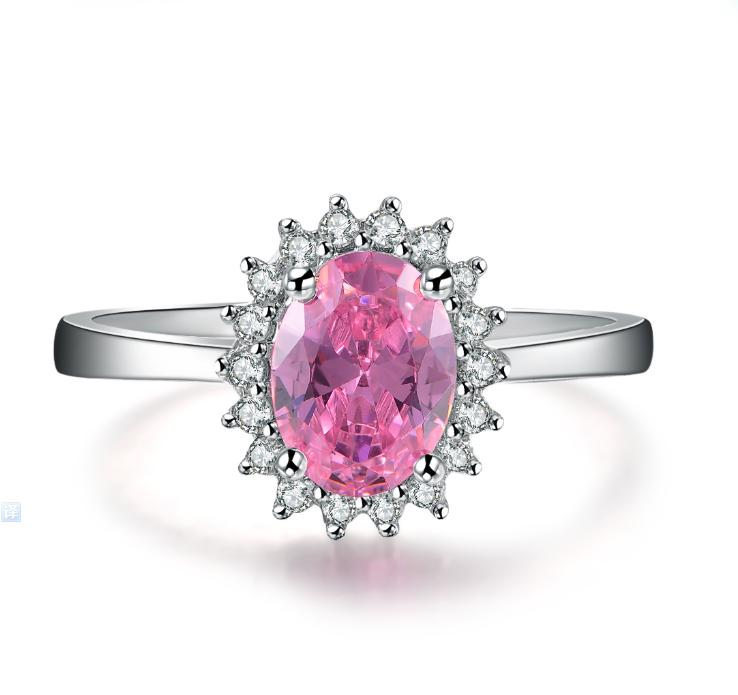 화려한 보석 고백 여성 링 2CT 타원형 컷 합성 다이아몬드 결혼 반지 고체 925 스털링 실버 반지 화이트 골드 도금