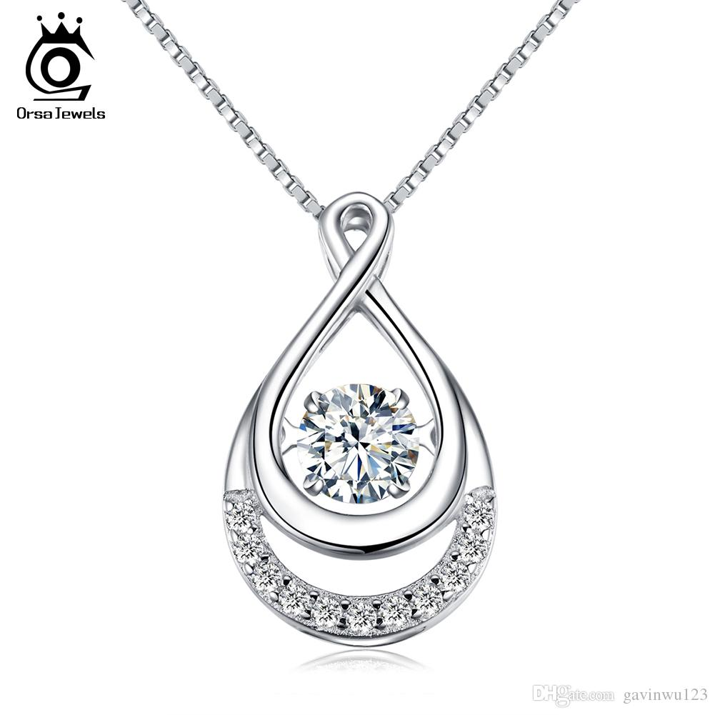ORSA JEWELS Solid 925 Silver Women Necklaces Double Infinity Pedants with Movable Crystal Eternity Jewelry SN50