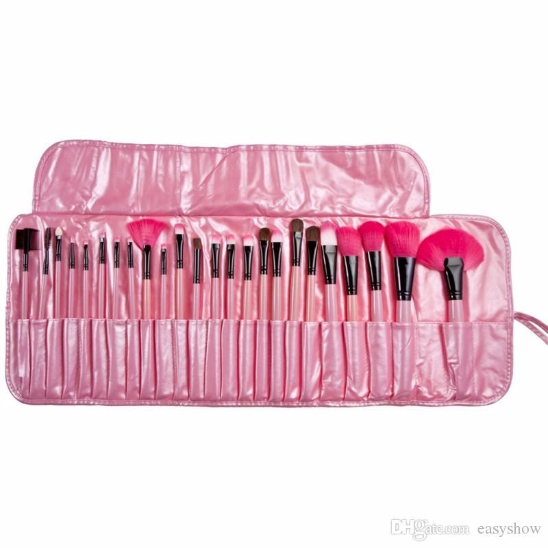 جودة عالية! فرش ماكياج المهنية 24 جهاز كمبيوتر شخصى مجموعة فرش ظلال العيون الوردي / الأسود الساحرة مع الحقيبة الجلدية DHL مجانا