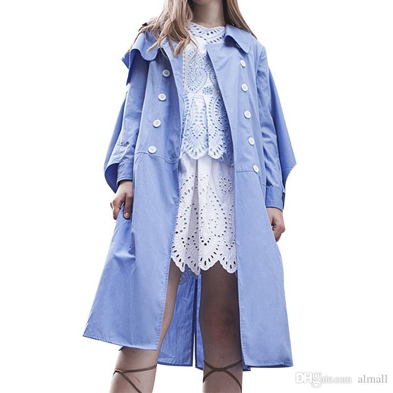 Осень женская ветровка рябить с длинным рукавом зашнуровать Midi пальто Женский кардиган повседневная одежда корейский большой размер