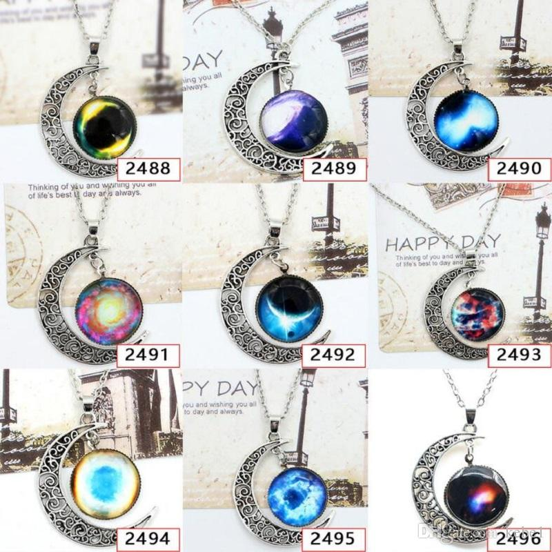 Wholesale Galaxy Constellation Zodiac Sign Glass Cabochon Necklace Ancient Silver Crescent Moon Pendant Fashion Jewlery For Women Gift Free