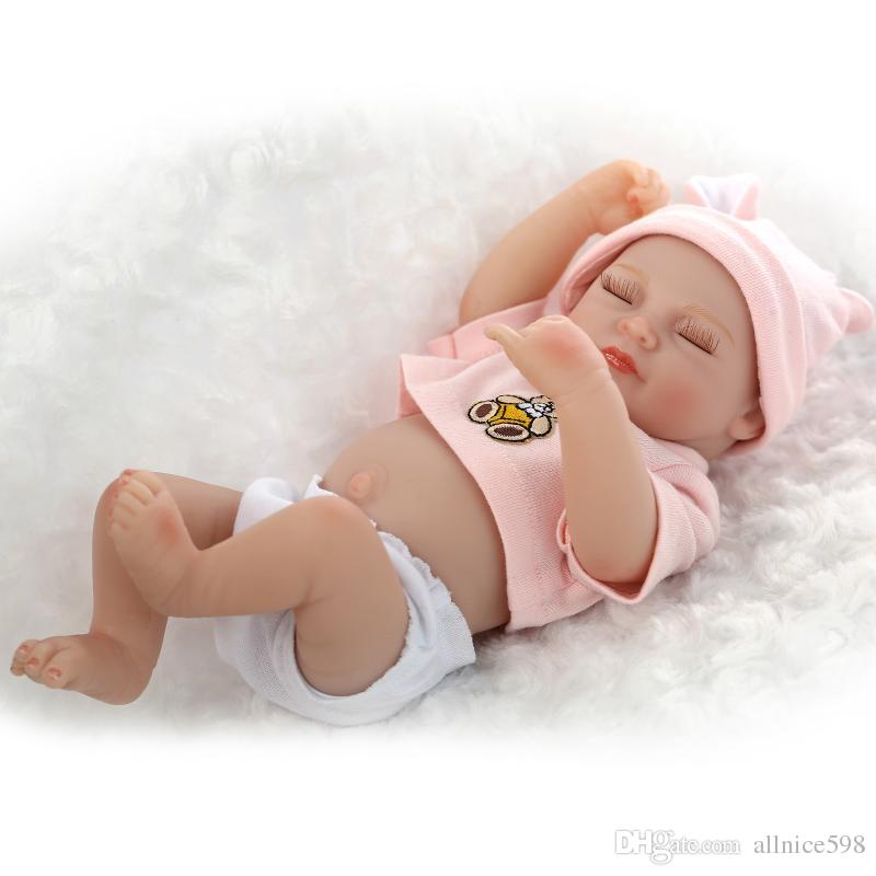 "11/"" Handmade Sleeping Newborn Baby Vinyl Full Body Silicone Reborn Doll Girl New"