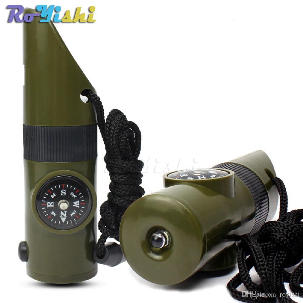 1 unids 7 en 1 Multifuncional Kit de Supervivencia Militar Lupa Silbato Brújula Termómetro Luz LED