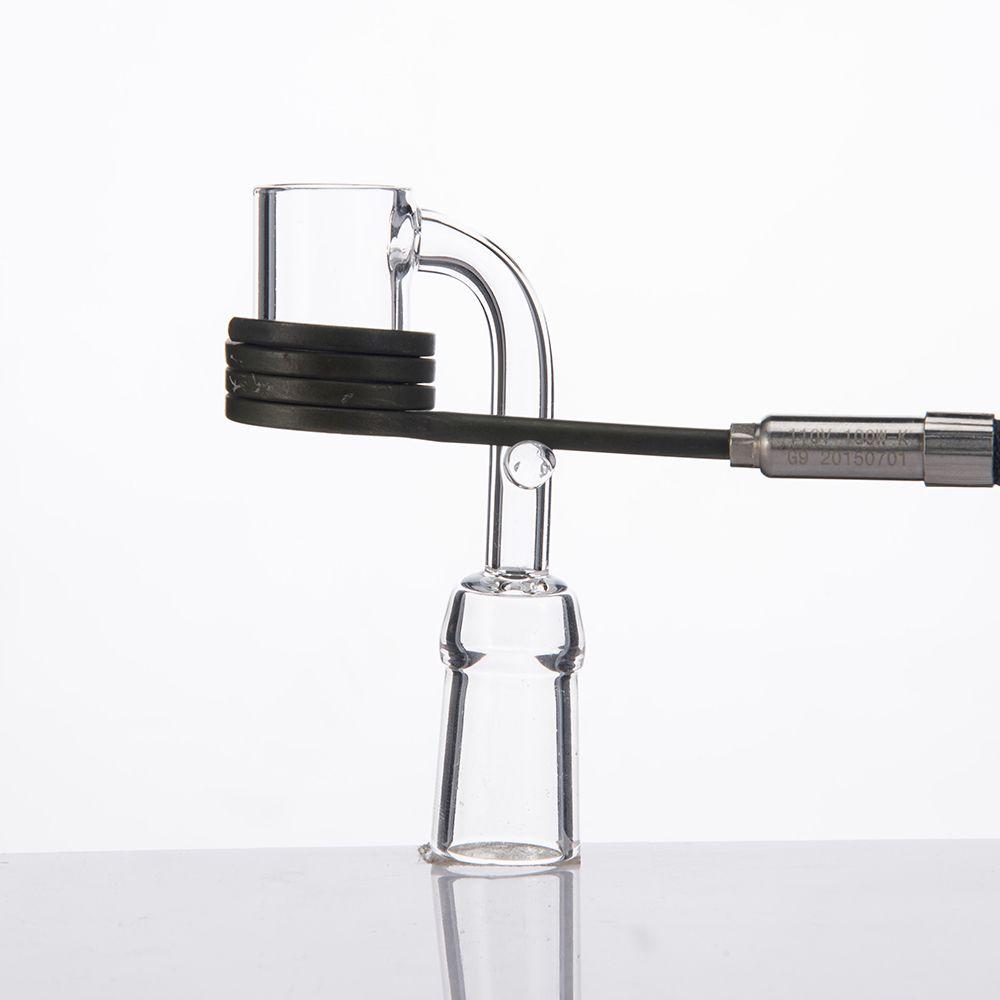 석영 Enail 4mm 두꺼운 바닥 석영 Banger 전기 Domeless 손톱 10 / 14 / 18MM 남성 여성 광택 관절, 16mm 코일에 맞는