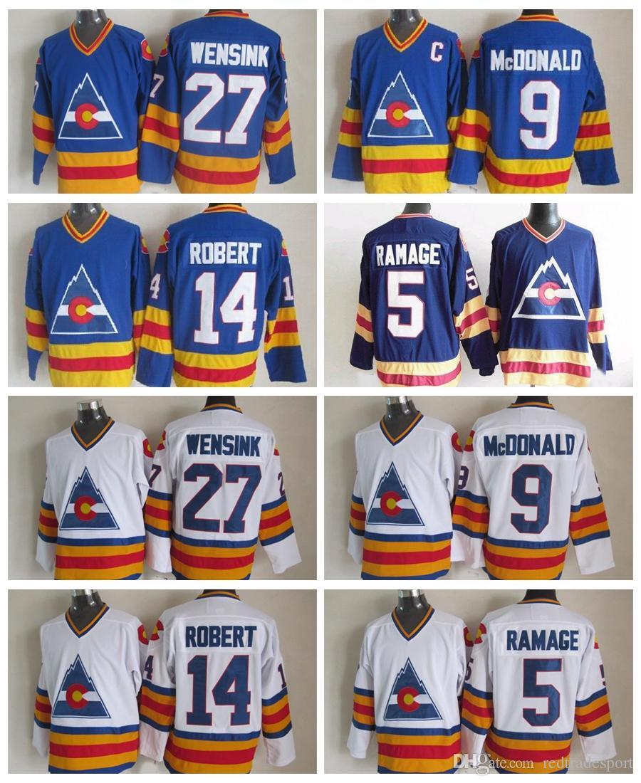 Vintage Colorado Avalanche Hockey Maillots 27 John Wensink 5 Rob Ramage 14 René Robert McDonald 9 Lanny bleu vintage CCM Cousu Maillots