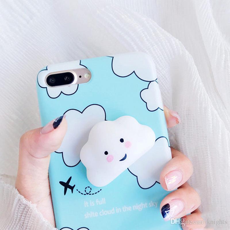 Pour IPhone 6 6s 7 Plus Mignon 3D Souriant Nuages Stress Relievr Squishy Téléphone Case Soft IMD Couverture Arrière Fundas Coque Proposé Par ...
