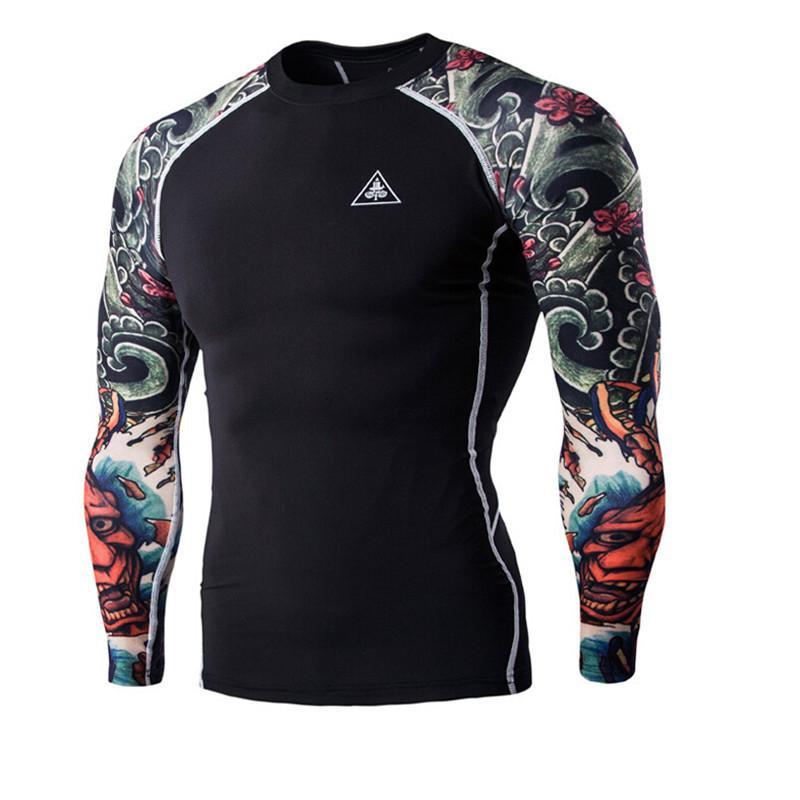 Atacado-T-shirt dos homens Impressão Digital de Fitness de secagem rápida Roupas Desgaste de Manga Longa Tatuagem Camisetas Homem de Fitness Vestuário Masculino Tops XXL