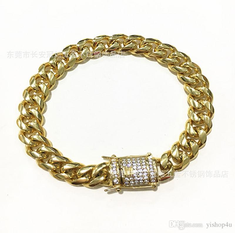 Pulseras para hombre 18k chapado en oro Hip hop brazalete de oro cubano 10 mm 8 pulgadas Dimond cadena de botones